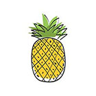 TattooWhatever Pineapple Temporary Tattoo - Set of 2, Summer, Yellow, Green