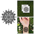 Tattify Intricate Detailed Flower Mandala Symmetrical Circle Traditional Line Temporary Tattoo (Set of 2)