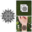 Tattify Intricate Detailed Flower Mandala Symmetrical Circle Traditional Line Temporary Tattoo (Set of 2)
