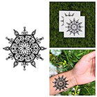 Tattify Detailed Flower Mandala Symmetrical Hexagon Traditional Line Temporary Tattoo (Set of 2)