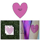 Tattify Cute Funny Big Cartoon Heart Go Away Pink Body Art Temporary Tattoo Pack (Set of 2)