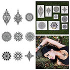 Tattify Intricate Symetrical Henna Mandala Body Art Temporary Tattoo Pack (Set of 18)