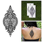 Tattify Intricate Detailed Henna Style Symmetrical Back Temporary Tattoo (Set of 2)