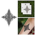 Tattify Snowflake Henna Style Detailed Intricate Symmetrical Temporary Tattoo (Set of 2)