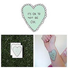 Tattify Cute Frilly Green Cartoon Heart It's Okay Body Art Temporary Tattoo Pack (Set of 2)