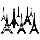 Ombeyond TEMPORARY TATTOO - Set of 6 Valentine's Elements / Spider Cobweb / Coffie Cup / Set of 8 Eiffel Tower /Fish with Stripes