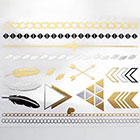 Arrow Tattoo Metallic Gold and Silver temporary tattoo Pattern Tattoo Temporary Tattoo wrist ankle body sticker fake tattoo metallic