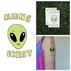 Tattify Little Green Man Alien Truth Cute Cartoon Extraterrestrial Body Art Temporary Tattoo (Set of 2)