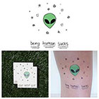 Tattify Cute Cartoon Alien Extraterrestrial Stars Outer Space Body Art Temporary Tattoo (Set of 2)