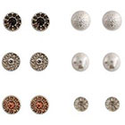 Target Round Stud Earring with Glass Crystals and Pearl - Multicolor