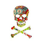 Atattood Skull and Crossbones, Colorful Temporary Tattoo 2 pc