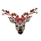Atattood Deer With Floral Antlers Temporary Tattoo