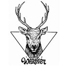 TattooWhatever Geometric Deer Tattoo - Available in 2 sizes, black and white, large size
