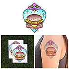 Tattify Cheeseburger in Paradise - Food Temporary Tattoo (Set of 2) in