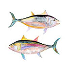 Ombeyond TEMPORARY TATTOO - Set of 4 Watercolor Fish Set of 2 Watercolor Fish
