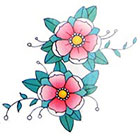 Lagoon House Cute Traditional Pink Cherry Blossoms - Hand Drawn Temporary Tattoo