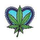 Lagoon House Baby Blue Heart and Hemp Leaf Hand Drawn Large Temporary Tattoo