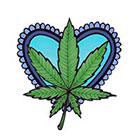 Lagoon House Baby Blue Heart and Hemp Leaf Hand Drawn Large Temporary Tattoo