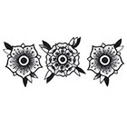 Lagoon House Uncolored Black Roses Hand Drawn Large Temporary Tattoo