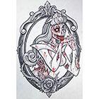 Deviant Diva Temporary Tattoo - Zombie Aurora Girl Halloween, Dress Up, Vintage, Polkadots, Pin Up, Rockabilly, Disney, sleeping beauty, freaky, bloody