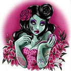 Deviant Diva Temporary Tattoo - Zombie Girl Halloween, Dress Up, Vintage, Polkadots, Pin Up, Rockabilly, bloody, guts, gory, gross, mature.