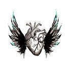 Atattood Human Heart With Wings Temporary Tattoo