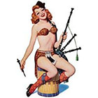 Deviant Diva Temporary Tattoo - Bag Pipe Playing Girl Pin Up Mature, Pin Up, Halloween, Dress Up, Bag Pipe, Bag Pipes, Scottish, Kilt, Drum