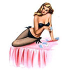 Deviant Diva Temporary Tattoo - Vintage Retro Pin Up Girl Mature, Pin Up, Halloween, Dress Up, Vintage, Retro, Mature, Adult, lingerie, Thigh Highs bows