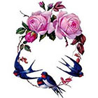 Ombeyond TEMPORARY TATTOO - Set of 7 / Set of 4 Vintage Florals or Swallows & Roses
