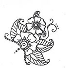 A Shine To It Floral Henna-Style Temporary Tattoo Hand Drawn Illustration