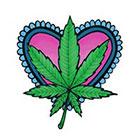 Lagoon House Pink Heart and Hemp Leaf Hand Drawn Large Temporary Tattoo