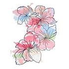 Lagoon House Large Pastel Watercolor Floral Cluster Hand Drawn Temporary Tattoo