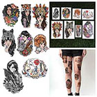 Tattify Cool Female Portrait Temporary Tattoos - Ladies Night (Set of 16)