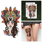 Tattify Jaguar Headdress Temporary Tattoo - Leopard Girl (Set of 2)