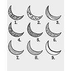Taboo Tattoo 2 Hand Drawn Moons Temporary Tattoo, various sizes available You Choose