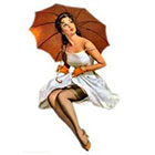 Deviant Diva Temporary Tattoo - Pin Up Girls with Umbrellas in the rain, Mature, lingerie, sexy, knee highs, rain boots, sheer, nightie thigh highs boots