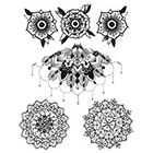 Lagoon House Temporary Tattoo Sheet - Uncolored: Blossoms, Bust Piece & Mandalas
