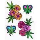 Lagoon House Temporary Tattoo Sheet - Rose Buds & Bud Leaves - Cannabis Lovers Kit
