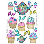 Lagoon House Temporary Tattoo Sheet - Cupcakes, Teapots & Gems - Cute Girlie
