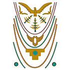 Tattify Metallic Gold Turquoise Necklace Temporary Tattoo - Thunderbird Sheet 5