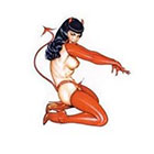 Deviant Diva Temporary Tattoo - Mature, Tarantula Girl, Witch on a broom, Devil Pin Up Girl, Girl in Viking hat, Black Cat, Jack O lantern, Costume, Fun