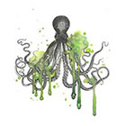 The Fickle Tattoo Vintage Watercolor Octopus Temporary Tattoo -