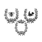 The Fickle Tattoo Vintage Laurel Wreaths with Bee, Crown & Sparrow -
