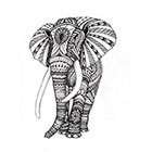 Tattoocrew Includes 2 tattoos: temporary elephant tattoo, elephant, temporary tattoo, Aztec elephant, animal, hand draw, black and white, art, body art