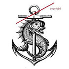 WildLifeDream Vintage anchor and fish - temporary tattoo