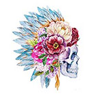 Tattoo LifeStyle Sets water color skull temporary tattoos