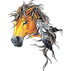 TattooGirlsRule Large Horse with Feathers Temporary Tattoo (#D726)