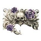 MyBodiArt Skull Temporary Tattoo, Floral Temporary Tattoo, Large, Flower, Rose, Black, Arm Sleeve, Chest, Lower Back, Zombie, Gothic, Day of the Dead