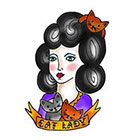 Tattoorary Cute old school Cat Lady temporary tattoo design