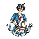 Tattoorary Large vintage sailor woman temporary tattoo